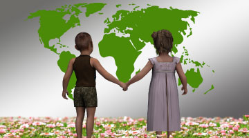 Children holding hands looking at the world